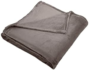 Pinzon Velvet Plush Blanket, Full/Queen, Grey
