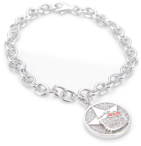 "Hello Kitty ""Superstar"" White Sapphire and Diamond Charm Bracelet,7″"