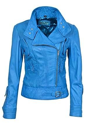 supermodel damen blau biker stil designer echt nappa. Black Bedroom Furniture Sets. Home Design Ideas