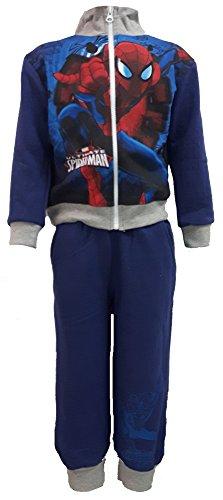 tuta da ginnastica FELPATA bimbo SPIDERMAN disney pantalone con felpa full zip (5/6 anni, blu)