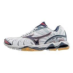 Mizuno Men\'s Wave Tornado X Volleyball Shoe, White/Navy, 9.5 D US