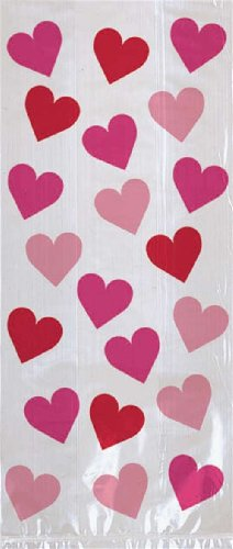 Pink and Red Hearts Large Party Bags -11in. H x 5in. W x 3.25in. D - 20/Pack