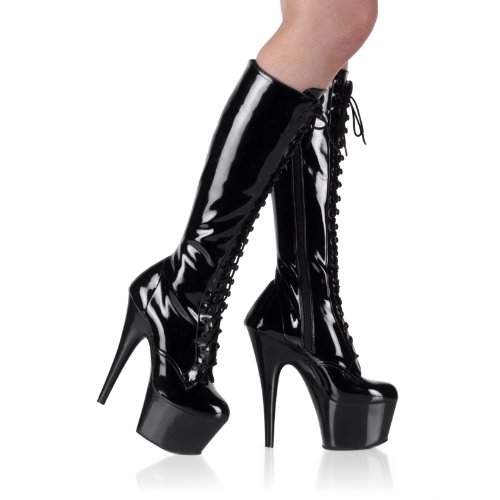 6 1/2 Inch Sexy Stiletto Lace-Up Stretch Platform Knee Hi Boot With Side Zip Black
