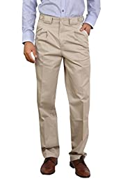 Bottom's Cotton Chinos Two Pleated Cartini DarkFawn Colored Trouser For Men