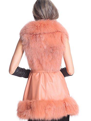 BLQY Women's Sheep Skin Leather Gilet with Fox Fur Hem and Collar XXL-Large Orange