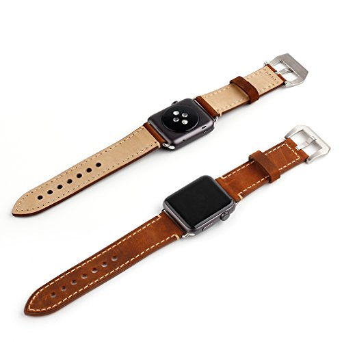 Apple Watch Band, 42mm iWatch Strap Premium Vintage Crazy Horse Genuine Leather Replacement Watchband with Stainless Metal Clasp for All Apple Watch Sport Edition (42mm Brown) 5