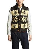 Canadian Sweater Company Snow Button Vest 09CN01: Moss / Brown