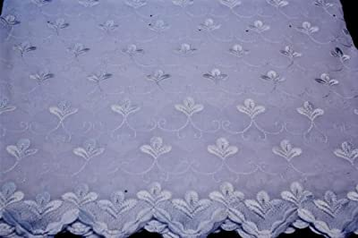 White,embroidery Polycotton African Lace Textile in 11 Colors, Blended Cotton Voile