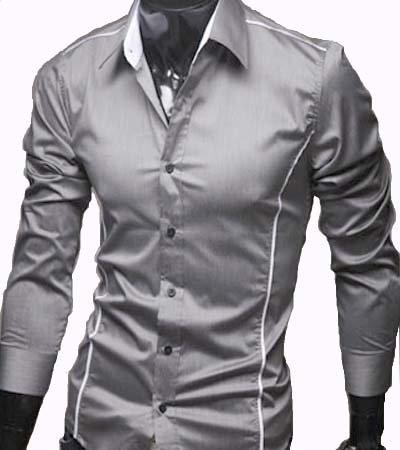 GL Fashions Men's Casual Long Sleeve Dress Shirt - Grey - XL