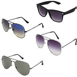 Rhodopsin UV Protected Purple Grey Aviator,Grey Aviator,Black Blue Yellow Aviator and Black Wayfarer Sunglasses for Women (4_Purple_Grey_Bk_Blu_Grey_Avt_Bk_Way)