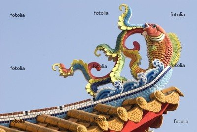 "Wallmonkeys Peel and Stick Wall Graphic - Colorful Chinese Decoration on Temple Roof. - 24""W x 16""H"