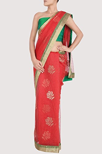 Red KARMIK Brand Red Net Sari