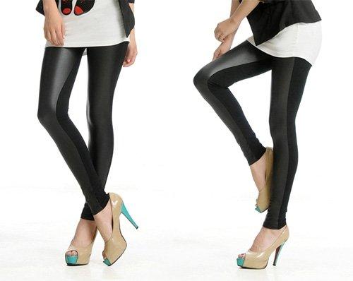 andante hochwertige leggings in trendiger lederoptik duo schwarz vorderseite lederoptik. Black Bedroom Furniture Sets. Home Design Ideas