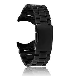 24 mm Venda De Reloj De La Correa De Acero Inoxidable Sólido Con Hebilla Del Despliegue - Negro de Genérico