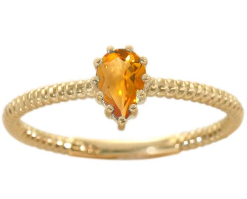14K Yellow Gold Pear Gemstone Solitaire Stackable Ring-Citrine, size6