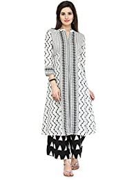 Varanga White Cotton Printed Kurta With Palazzo VARSS17210_PZ17125-L_