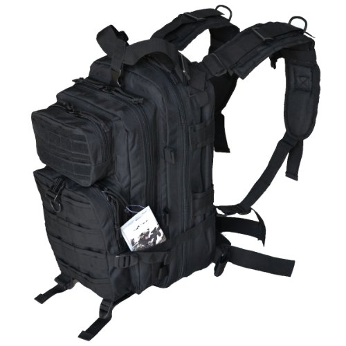 "Tactical Assault Pack - Combat Rucksack - 17"" Military MOLLE Backpack 27L - Black"