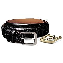 Allen Edmonds Mens Alligator Skin Dress Belt, Black Alligator with Switchable Buckles, Size 44 (34631)