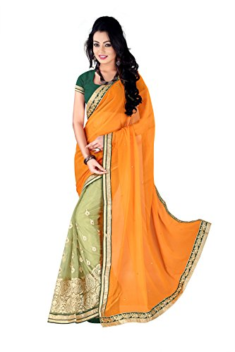 Amar Sarees women jerman chiffon mono net orange color