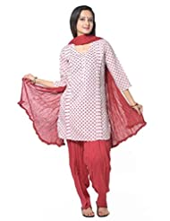 White With Pink Booti Printed Cotton Salwar Suits