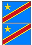 2 Democratic Republic of Congo Flag Stickers Decal Bumper Window Laptop Phone Auto Boat Wall