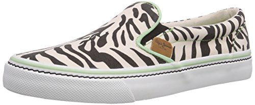 Pepe Jeans London ALFORD  ZEBRA, Low-Top Sneaker donna, Nero (Schwarz (999BLACK)), 36