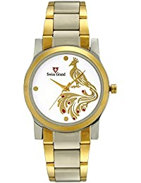 Swiss Grand SG-1175 Silver Coloured With Gold Stainless Steel Strap Analog Quartz Watch For Women