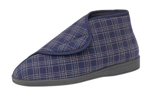 Sleepers Brett II - Pantofole da uomo a pianta extralarga, con chiusura a velcro, lavabili in lavatrice, taglie varie, Blu (Blu), 47 (13 UK)
