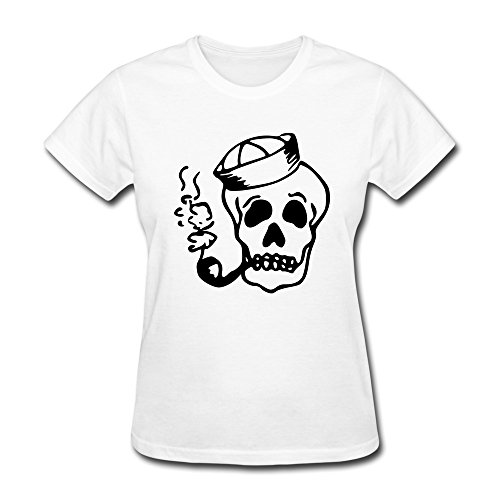 Cool Sailor Skull Tees Making For Ladies White