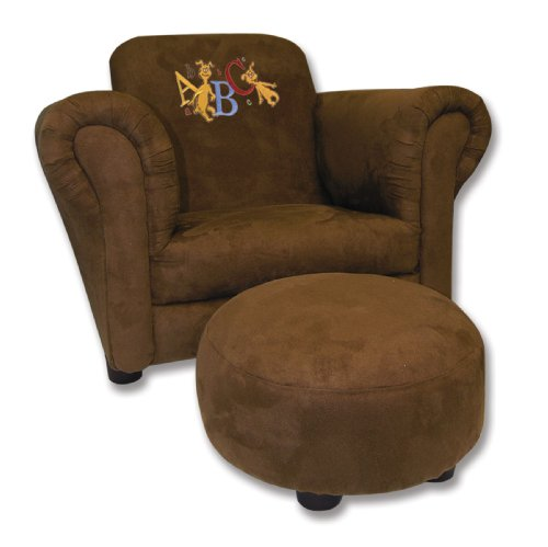 Trend Lab Dr. Seuss ABC Brown Ultrasuede Club Chair and Ottoman Set