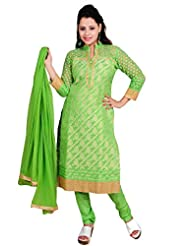 Ritu Creation Women's New Brocade Silk Stitched Chuddidar Suit(Green)