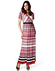 Per Una Deep V-Neck Abstract Print Maxi Dress