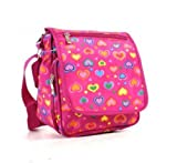 Pink Heart Pattern Multi Pocket Cross Body Messenger Bag
