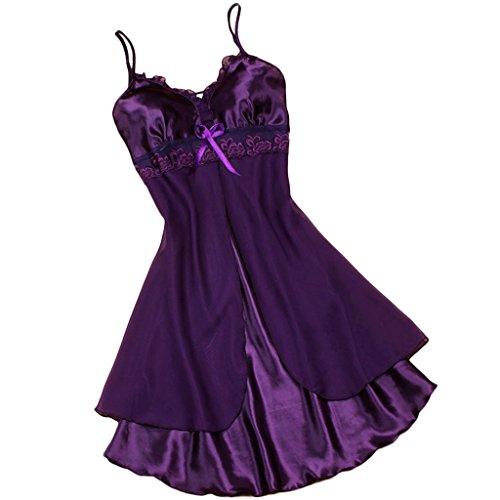 FUNOC Sexy Womens Lingerie Babydoll Faux Silk Lace Sleepwear Pajamas Nightgown Dress