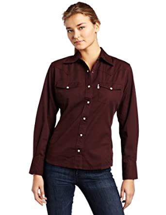 Carhartt Women's Long Sleeve Twill Snap Front Shirt,Port (Closeout),X-Small