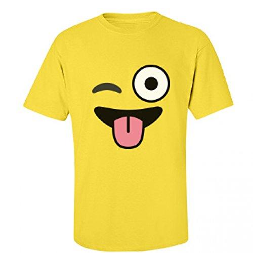 [Funny Emoji Winking Costume: Unisex Fruit of the Loom T-Shirt] (Heavyweights Halloween Costume)
