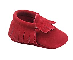 Unique Baby Unisex Quality Suede Moccasins(M 5 Inches) Red