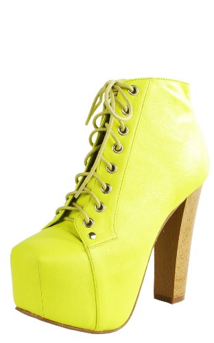 Leatherette Wooden Heel Booties NEON YELLOW