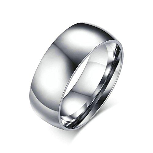 beydodo edelstahl ring f r unisex eheringe hoch poliert einfache kuppel tr ben silber gr e. Black Bedroom Furniture Sets. Home Design Ideas