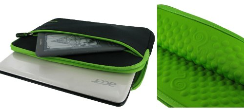 rooCASE Neoprene Wonderful Bubble Sleeve Case for Lenovo S10-3 0647-29U 10.1-Inch Coal-black (Black / Neon Green)