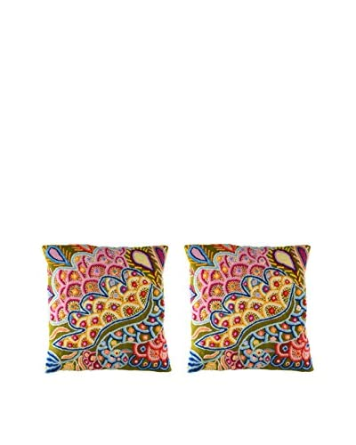 Uptown Down Set of 2 Hand-Embroidered Accent Pillows, Yellow/Multi