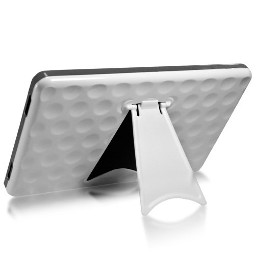 BoxWave Kindle Fire Fairway Case with Stand   Premium Hard Shell Case with Textured Grip Design and Collapsible Viewing Stand (White/Grey)