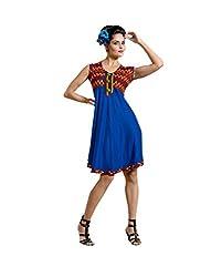Viva N Diva Women's Blue Color Cotton Rayon Kurti.