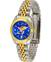 Kansas Jayhawks KU Ladies Gold Dress Watch