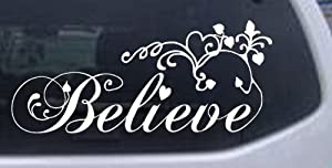 Believe Christian Car Window Wall Laptop Decal Sticker -- White 5in X 11.4in