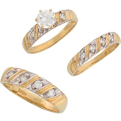 9ct Two Colour Gold White CZ Sparkling His And Hers Wedding Ring Trio Set