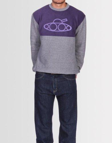 Kear and Ku Mens Fleese Sweatshirt : Grey Marl - Grape - S
