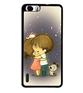 Fuson Premium 2D Back Case Cover Lovely hug With Black Background Degined For Huawei Honor 6