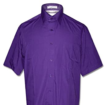 Men's Short Sleeve PURPLE INDIGO Dress Shirt size Small