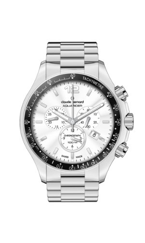 Claude Bernard Men's 10204 3 AIN Aquarider Silver Chronograph Tachymeter Steel Watch